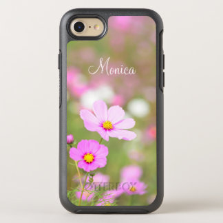 Gentle Pink Flower - with Name OtterBox Symmetry iPhone 7 Case
