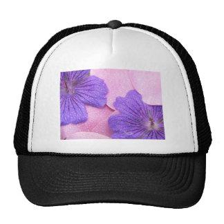 Gentle Pink Petals Mix Purple Flowers Dew Dropped Mesh Hats
