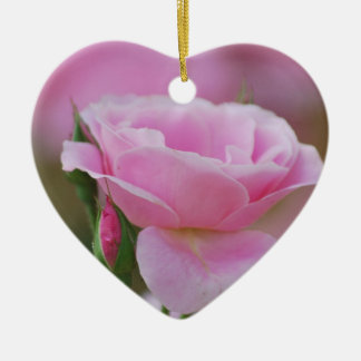 Gentle pink rose and rose buds christmas tree ornaments