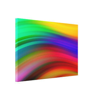 Gentle Rainbow Waves Abstract Canvas Print