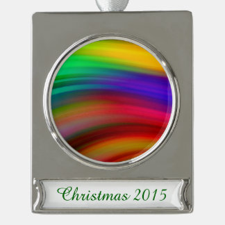 Gentle Rainbow Waves Abstract Silver Plated Banner Ornament