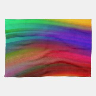 Gentle Rainbow Waves Abstract Tea Towel