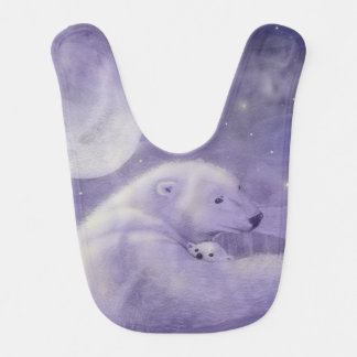 Gentle Winter Polar Bear Mama and Cub Bib