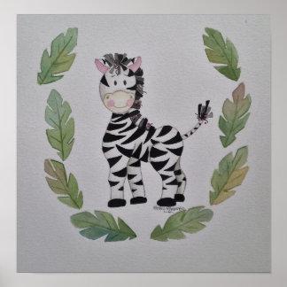 Gentle Zebra Poster