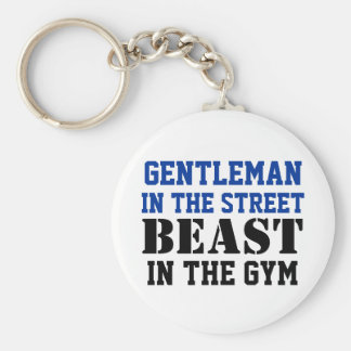 Gentleman and Beast Workout Motivation Basic Round Button Key Ring