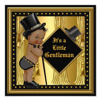 Gentleman Baby Shower Boy Gold Black Ethnic 13 Cm X 13 Cm Square Invitation Card