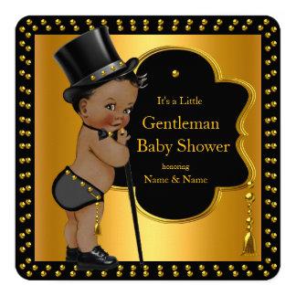 Gentleman Baby Shower Boy Tophat Cane Ethnic 13 Cm X 13 Cm Square Invitation Card