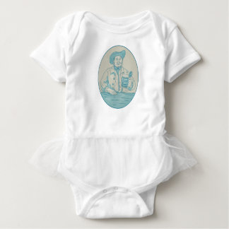 Gentleman Beer Drinker Tankard Oval Drawing Baby Bodysuit