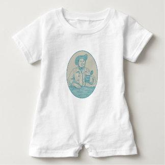 Gentleman Beer Drinker Tankard Oval Drawing Baby Bodysuit