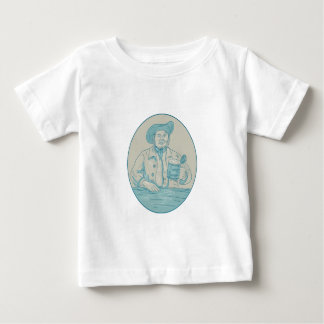 Gentleman Beer Drinker Tankard Oval Drawing Baby T-Shirt