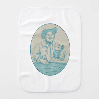 Gentleman Beer Drinker Tankard Oval Drawing Burp Cloth