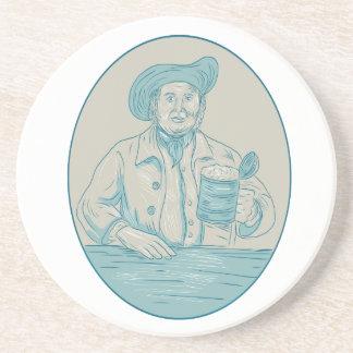 Gentleman Beer Drinker Tankard Oval Drawing Coaster