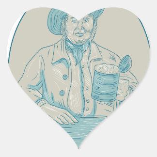 Gentleman Beer Drinker Tankard Oval Drawing Heart Sticker