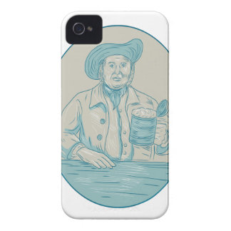 Gentleman Beer Drinker Tankard Oval Drawing iPhone 4 Case-Mate Cases
