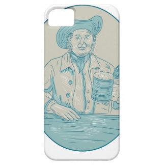 Gentleman Beer Drinker Tankard Oval Drawing iPhone 5 Cases