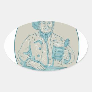 Gentleman Beer Drinker Tankard Oval Drawing Oval Sticker