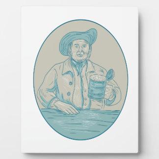 Gentleman Beer Drinker Tankard Oval Drawing Plaque
