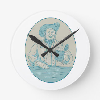 Gentleman Beer Drinker Tankard Oval Drawing Round Clock