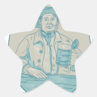 Gentleman Beer Drinker Tankard Oval Drawing Star Sticker