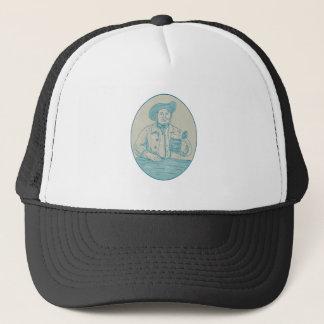 Gentleman Beer Drinker Tankard Oval Drawing Trucker Hat