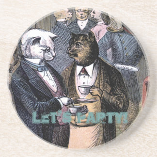 Gentleman Cats at Miss Pussy Cat's Tea Party. Coasters