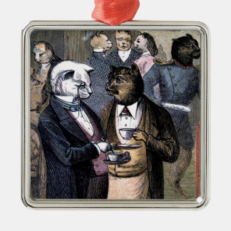 Gentleman Cats at Miss Pussy Cat's Tea Party. Christmas Ornament