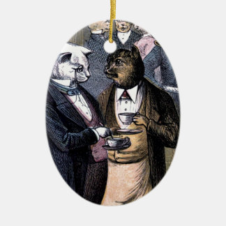 Gentleman Cats at Miss Pussy Cat's Tea Party. Christmas Tree Ornament