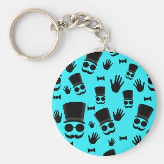 Gentleman - cyan pattern basic round button key ring