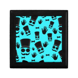 Gentleman - cyan pattern small square gift box