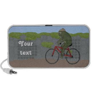 Gentleman Frog on a Bicycle Doodle Speaker