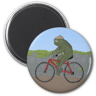 Gentleman Frog on a Bicycle Magnet