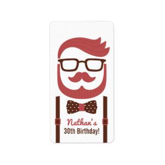 Gentleman Glasses Bowtie Birthday Party Labels
