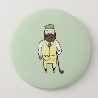 Gentleman in golf club 10 cm round badge