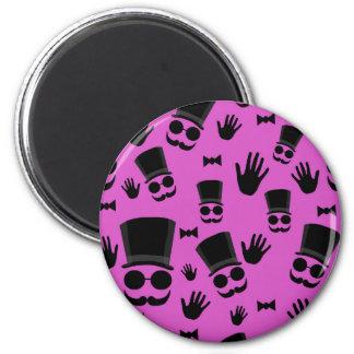 Gentleman - magenta pattern 6 cm round magnet