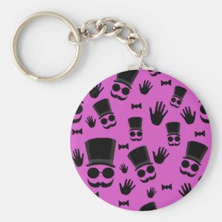 Gentleman - magenta pattern basic round button key ring