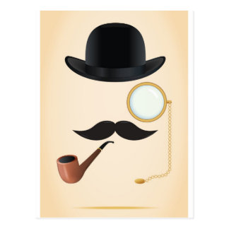 Gentleman Moustache Must-Dash Monacle & Bowler Hat Postcard