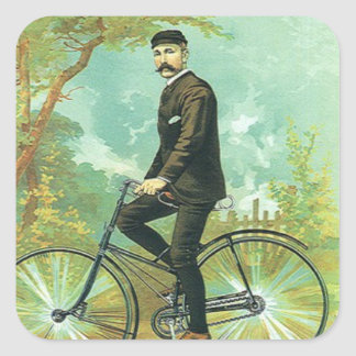 Gentleman on a bicycle square sticker