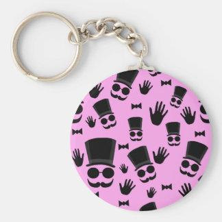 Gentleman - pink pattern basic round button key ring