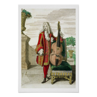 Gentleman playing the cello, published c.1688-90 ( poster