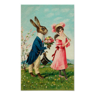 Gentleman Rabbit Courting Lady at Easter Poster
