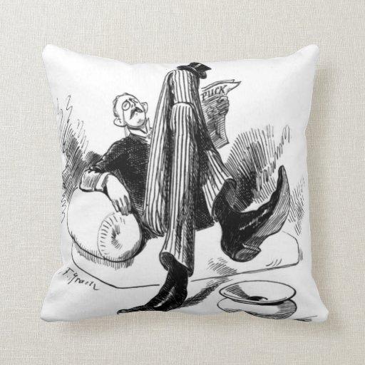 Gentleman Reading 1880 Throw Pillow