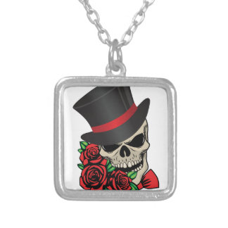 Gentleman Skull Silver Plated Necklace