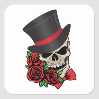 Gentleman Skull Square Sticker