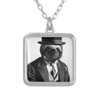 Gentleman Sloth #2 Silver Plated Necklace