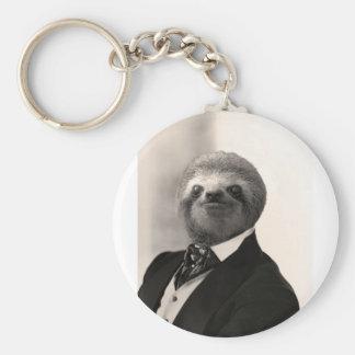 Gentleman Sloth #4 Basic Round Button Key Ring