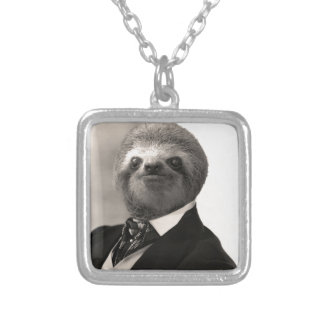 Gentleman Sloth #4 Silver Plated Necklace