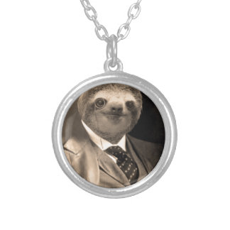 Gentleman Sloth 7# Silver Plated Necklace