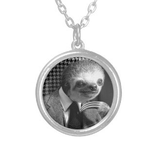 Gentleman Sloth sitting in Fancy Chair Silver Plated Necklace