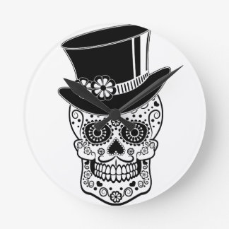 Gentleman Sugar Skull-01 Wall Clock