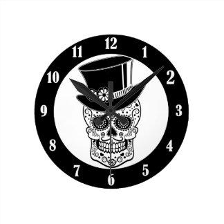 Gentleman Sugar Skull-01 Wall Clocks